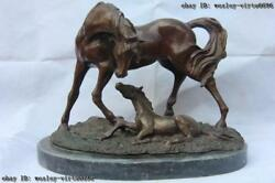 Classic Bronze Sculpture Mother And Child Small Horse Art Statue Base Of Marble