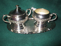 Sheridon Silver On Copper Cream And Sugar With Serving Tray