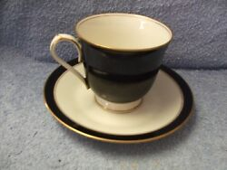 Noritake Ivory China 7274 Ebony And Ivory Cup And Saucer Mint