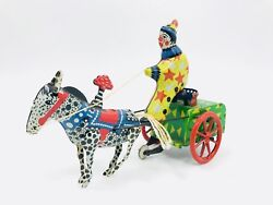 Vintage 1950's Ussr Tin Windup Donkey Clown Carriage Toy
