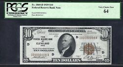 1929 10 Frbn Cleveland W/single Digit S/n ♚♚d00000008a♚♚ Pcgs Very Ch New 64