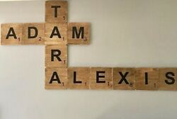 PERSONALIZED HAND CUT LARGE WALL ART SCRABBLE TILES FINISHED WOOD 4in x 4in