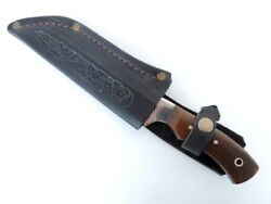 Vintage Knife Hunter Bowie Dagger Stainless Steel In Leather Case Wood Handle