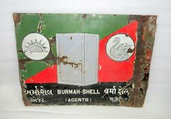 Antique Old Collectible Burmah Shell Oil Porcelain Enamel Sign Board