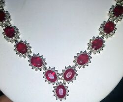 14k white gold  natural  ruby Necklace 88.50ct