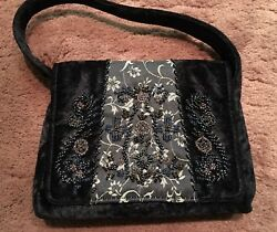 Vintage Bueno Purse Evening Bag Black Velvet with Floral Beading Magnetic Clasp $27.99