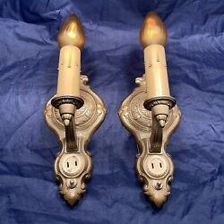 Art Deco Electric Candle Wall Sconces Pair Beautiful Rewired 2d