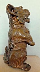 Unusual Long Haired Terrier Dog Sculpture Figure Copper Clad Circa 1930's-1940's