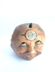 Money Still Bank Piggy Bank Figural Head With 3 Faces C. 1880