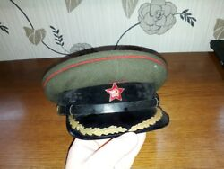 Vintage 1950 Soviet Russian Officerand039s Cap Hat Military Army Ussr-size 56