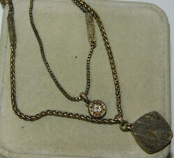 FOSSIL Silver double chain Fob Pendant Rhinestone Necklace extender 1i 49