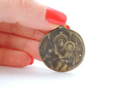 18th Vintage Antique Christian Religion Bronze Brass Charm Pendant Holy Mary