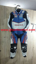 HONDA MEN MOTORBIKEMOTORCYCLE LEATHER RACING SUIT BLUE & WHITE WITH ALL SIZES
