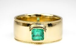 Mens Modern 14k Or 18k Yellow Gold Emerald Ring Mens White Gold Natural Emerald