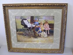 The Bombay Company ornate framed fabric mat wall print dogs baby carriage girls