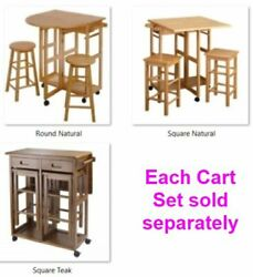 32 Rolling Wooden Storage Cart Kitchen Trolley With Stools Wood Indoor Outdoor
