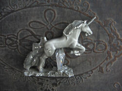 ✴mwfp✴masterworks Fine Pewter✧leaping Unicorn And Crystals✧fancy Figurine Statue