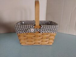 Longaberger Spring Basket With Khaki Check Liner And Protector Euc