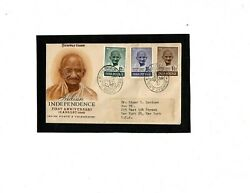 Gandhi 1948 Fdc Cover All 3 Values Bombay Cancels Very Rare Excellent Condition