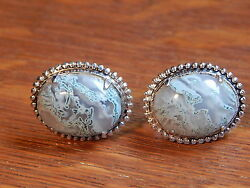 Vintage Green Moss Agate Good Quality Sterling Silver Screw Back Earrings