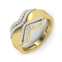 Solid 14kt Yellow Gold Diamond Ring Wavy Round Cut Band Ring D/vvs1 Size 6 7 8