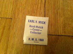 Rms Vintage Convention Earl V Mick Book Match Cover Collector Matchbook 1988