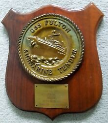 Uss Fulton As 11, Ww2 And Cold War Sub Tender, Submarine Command Metal Cast Plaque