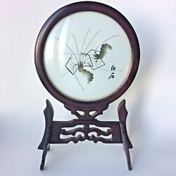 Chinese Glass Silk Hand Embroidery Round Wood Frame Display Ft Shrimps 7