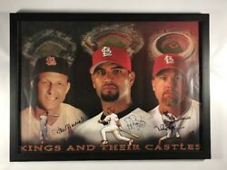 St Louis Cardinals Mcgwire Albert Pujols Stan Musial Triple Signed Framed Poster