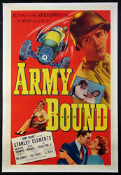 Army Bound Stanley Clements Car Racing Action 1952 1-sheet Linenbacked