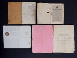 1896 Rare Lot Old Russian Antique Imperial Passport Document Payment Bank Book