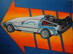 Original Back To The Future Delorean Time Machine Painting Marty Mcfly Poster