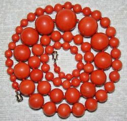 Old Rare Asian Antique Huge Natural Aka Dark Red Coral Necklace Stone Chain Bead