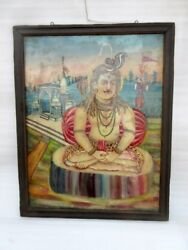 Antique Old Rare Artist Hand Painted Hindu God Shiv Reversible Glass Painting