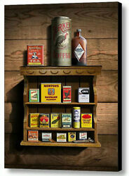 16x20 Canvas Print Antique Spice Rack And Tins Cans Kitchen Art Americana Decor