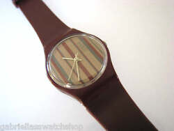 Lr101 1983 Striped Design Collectible Ladies Swatch, 7 Hole Band-very Rare