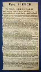 Jacobite Rebellion / Dying Speech Of James Shepheard Who Sufferand039d Death At 1st