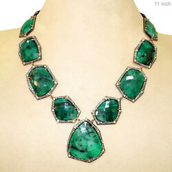 14k Gold 211ct EMERALD NECKLACE 925 Sterling Silver Pave Diamond Victorian Style