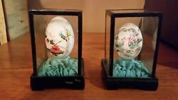 Hand Painted, Hand Blown Eggs In Glass Cases From The People's Republic Of China