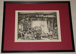 Framed Etching The Old Boat Works Weathered Workers By Lionel Barrymore