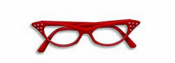 Red 1950's Cat Eye 50s Rhinestone Retro Vintage Style Glasses Womens Poodle