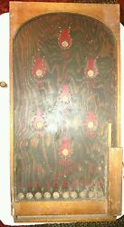 1800's Antique Tabletop Pinball Game Wood And Peg Nail-hand Painted Art Work