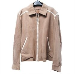 New Brioni Beige Suede Bomber Jacket With Leather Trim Size 50