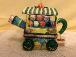 Tee Nee Flower Cart Teapot Tea For One Collectible