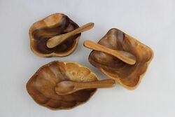 6-piece Hand Carved Wooden Bowl And Spoon Set Handcrafted Artisan Bowls Farmhouse