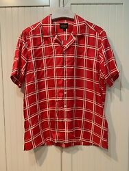 Tods Shirt Red Camp-collar In Checked Silk-twill, Xl