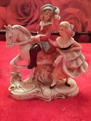 Grafenthal Young Man On Horse German Antique Porcelain Marked With Red Crown