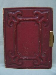 Antique Victorian Photo Album 1865 Red Embossed Leather Figures Portraits Small
