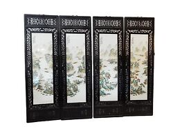 Chinese Set Of 4 Hand Painted Famille Rose Porcelain Panels, 20 W X 67.5 H
