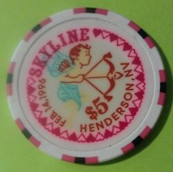 1996 Skyline Casino Henderson Nv. 5.00 Valentineand039s Chip Great For Collection